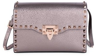 Valentino Small Rockstud Metallic Leather Crossbody Bag