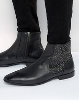 Asos Chelsea Boots In Black Leather With Stud Panel