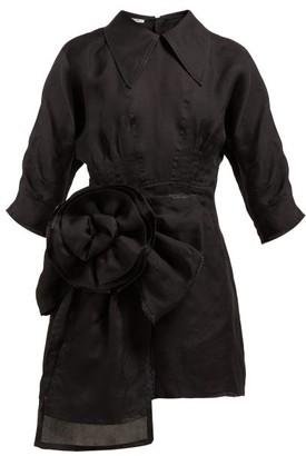 Miu Miu Rosette Silk-gazar Mini Dress - Black