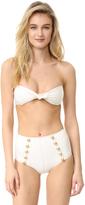 Lisa Marie Fernandez Poppy Denim Button High Waist Bikini