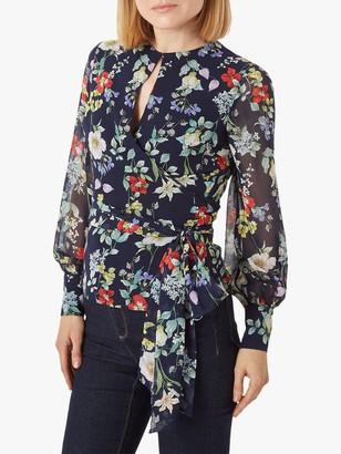 Hobbs Meadow Floral Print Blouse, Navy/Multi