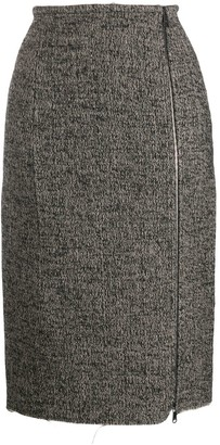 No.21 Raw Hem Zip-Up Midi-Skirt