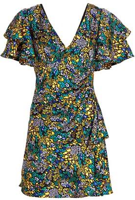 Tanya Taylor Abstract Leopard Print Ruffle Sleeve Mini Dress