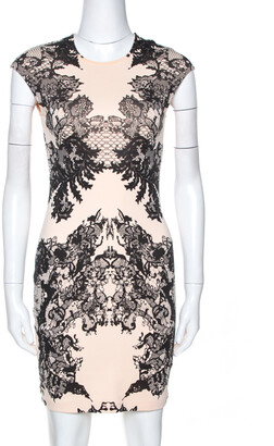 McQ Bicolor Lace Printed Jersey Fitted Dress XS