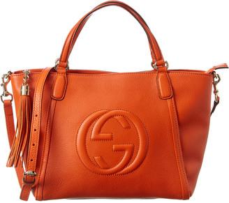 Gucci Orange Leather Soho Top Handle Tote