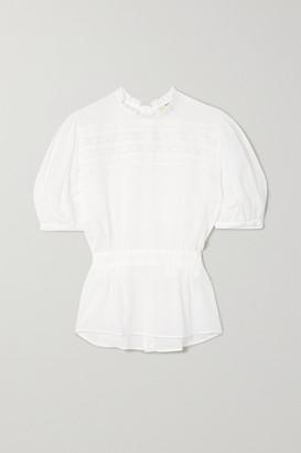 MATIN Este Reversible Lace-trimmed Cotton Blouse - White