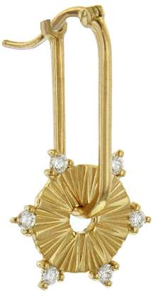 Foundrae Small Diamond Element Disk Earring - Yellow Gold