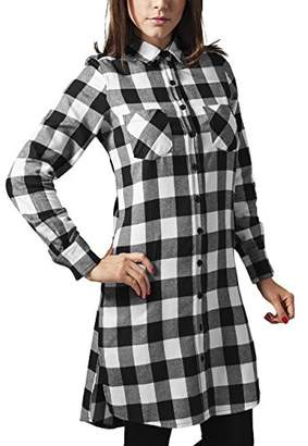 Urban Classic Women's Ladies Checked Flanell Shirt Dress,(Size of : M)
