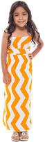 Coveted Clothing Girls' Maxi Dresses ORANGE - Orange & White Chevron Maxi Dress - Girls