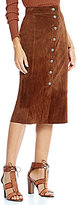 Gianni Bini Sandra Button Front Genuine Leather Suede Midi Skirt