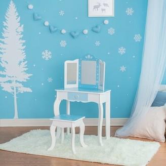Teamson Kids Fashion Snow Flake Prints Kids Vanity Set with Mirror