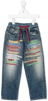 Denim Dungaree elasticated threadwork straight-leg jeans