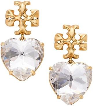 Tory Burch Goldtone Logo & Carved Heart Drop Earrings