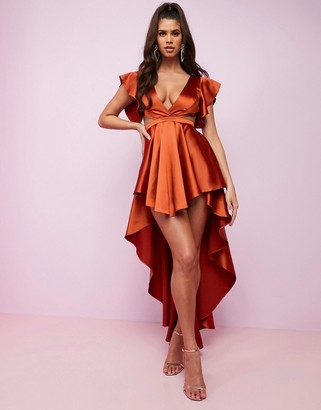 Asos DESIGN Luxe premium satin high low plunge cape sleeve maxi dress