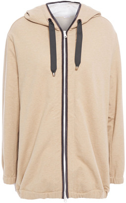 Brunello Cucinelli Oversized Bead-embellished French Cotton-blend Terry Hoodie
