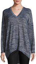 Joan Vass V-Neck High-Low Top, Navy/Silver