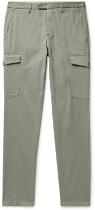 THOM SWEENEY - Cavalry Slim-Fit Tapered Stretch-Cotton Twill Cargo Trousers - Men - Green