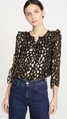 Rebecca Taylor Long Sleeve Leopard Metallic Top