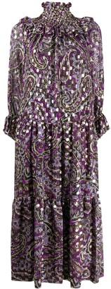 P.A.R.O.S.H. Metallic Abstract Long Dress