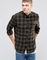 Asos Regular Fit Buffalo Plaid Shirt In Khaki