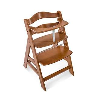 Hauck Alpha+ Wooden Height Adjustable Highchair with 5 Point Harness - Walnut