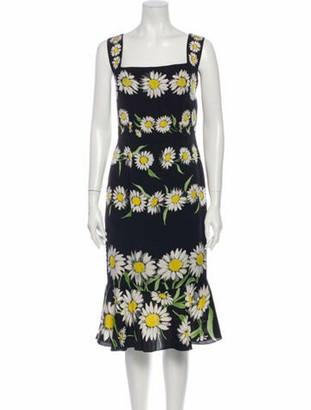 Dolce & Gabbana Silk Midi Length Dress Black