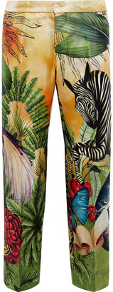 F.R.S For Restless Sleepers Printed Silk-twill Straight-leg Pants