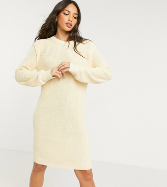 Noisy May Tall knitted jumper dress with sleeve detail in cream