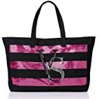 Victoria's Secret Tote Canvas Bag 2014 with Sequin Stripes Limited Edition by