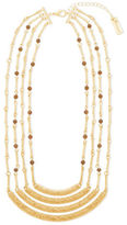Steve Madden Tigers Eye Goldtone Textured Multi-Row Station Necklace