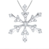 Zales 1/10 CT. T.W. Diamond Snowflake Pendant in 10K White Gold