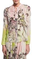 Roberto Cavalli Kimono Floral-Print Button-Front Blouse, Yellow/Pink