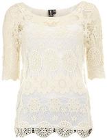 Dorothy Perkins Cream crochet short sleeve top