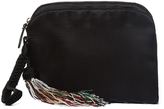 The Row Beaded-tassel satin wristlet clutch