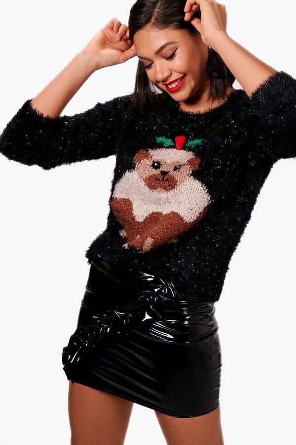 boohoo Pug Christmas Pudding Fluffy Knit Jumper