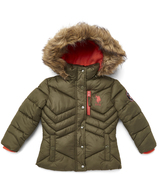 U.S. Polo Assn. Olive Night Hooded Puffer Jacket - Toddler & Girls