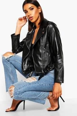 boohoo Faux Leather Belted Biker Jacket