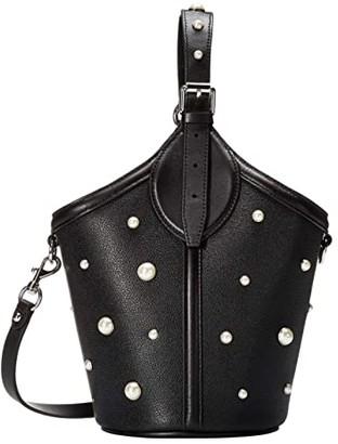 Rebecca Minkoff Pippa Top-Handle w/ Pearl Studs (Black) Handbags