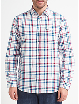 John Lewis Slub Grid Check Shirt, White