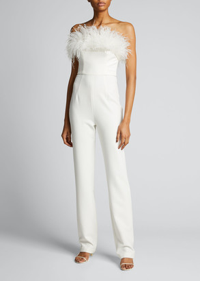 Bronx and Banco Lola Feather Trum Bustier Jumpsuit