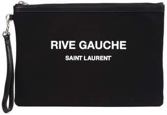 Saint Laurent Logo Print Wrist Strap Clutch Bag