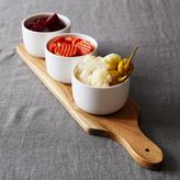 Sur La Table Porcelain Dip Bowls with Acacia Wood Tray, 4-Piece Set