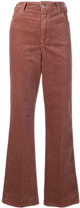 Closed wide leg corduroy trousers
