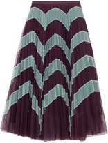 Mary Katrantzou Clementine printed plissé tulle midi skirt