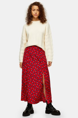 Topshop Womens Red Floral Double Split Midi Skirt - Red