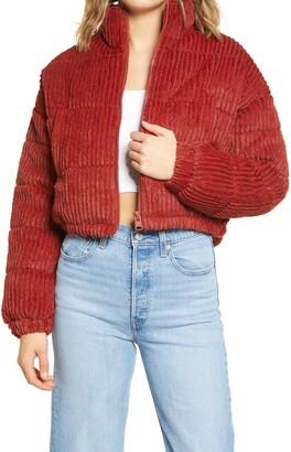 BDG Fluffy Corduroy Crop Puffer Jacket