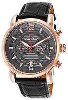 Lucien Piccard 14084-RG-014 Men's Morano Black Genuine Leather Gunmetal Dial