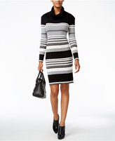 Connected Cowl-Neck Striped Sweater Dress