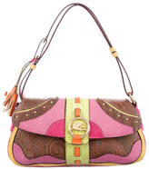 Etro Embossed Leather-Accented Shoulder Bag