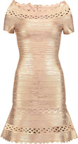 Herve Leger Lattice-paneled metallic bandage mini dress